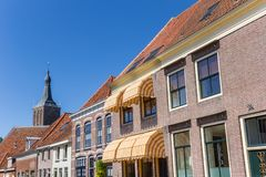 Old houses and church tower in Hasselt Stock Image