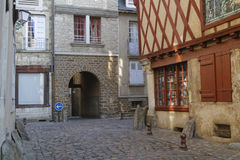Old houses in city center of Le Mans. Stock Images