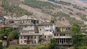 Old houses in city of Gjirokastër in Albania. Old stone houses in Unesco Wold Heritage city of Gjirokastra in the sooth of Albania stock images