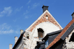 Old houses. Close-up of gables on old houses in Visby in the Swedish province of Gotland stock images