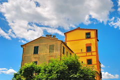 Old houses with cloudly sky Royalty Free Stock Image