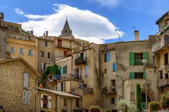 Old town of Sisteron in Provence. Old houses with colorful shutters on windows in Sisteron, Provence, France Royalty Free Stock Image