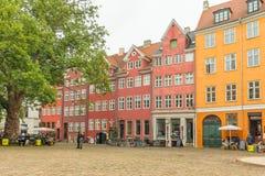 Old houses in Copenhagen, Denmark. Restaurants at Gråbrødertorv Stock Photo