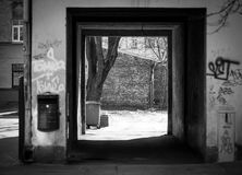Old houses courtyards. Black and white photo Stock Photos