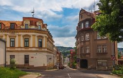 Old houses at the crossroads Royalty Free Stock Image