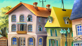 Old Houses. Digital painting of the Old houses in a summer city Stock Illustration