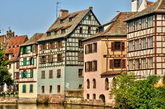 Old houses in the district of La Petite France in Strasbourg Royalty Free Stock Photo