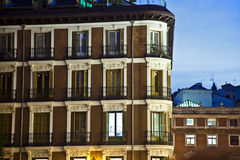Old houses downtown Madrid. With lofts stock photo