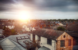 Old houses of Dublin. Roofs of typical living area, old houses in Dublin stock photo