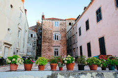 Old houses of Dubrovnik. Old houses and pot flowers in the foreground in Dubrovnik, Croatia Royalty Free Stock Photo
