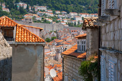 Old houses in Dubrovnik, Croatia. Red roofs of old medieval houses in Dubrovnik, Croatia Stock Photography