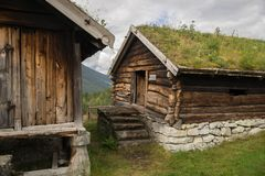 Old houses in ecomuseum in Norway. Folk heritage of Norway in summer  ecomuseum travel Royalty Free Stock Photography