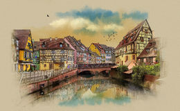 Old houses of Europe. Panorama of the city of Colmar, France. Royalty Free Stock Photo