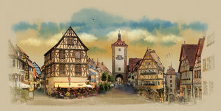 Old houses of Europe. Panorama of the city of Colmar, France. Stock Photography