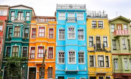 Old Houses in Fener District, Istanbul, Turkey Royalty Free Stock Photo