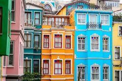 Old Houses in Fener District, Istanbul, Turkey Stock Photo