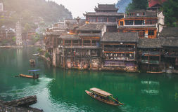 Old houses in Fenghuang county on Oct 22, 2013 in Hunan, China. The ancient town of Fenghuang was added to the UNESCO World Herita Stock Photography
