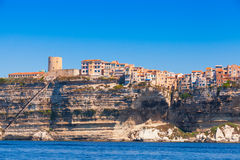 Old houses and fortress on the cliff. Bonifacio, Corsica Stock Photos