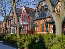 Old houses with gables. Old Victorian houses with gables that are common in downtown Toronto royalty free stock images