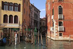 Old houses on Grand Canal in Venice, Italy stock images