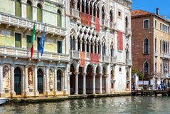 Old houses on Grand Canal, Venice, Italy royalty free stock images