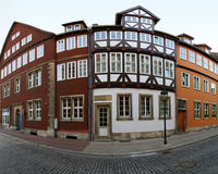 Old houses Hannover. Fisheye photo of medieval houses in old Hannover Royalty Free Stock Image