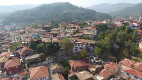 Old houses on hill in Turkey stock footage