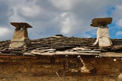 Old houses in the historical cultural reserve village of Dolen, Bulgaria. Stock Photo