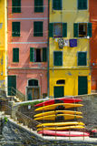 Old Houses In Riomaggiore With Canoes, Italy Stock Photography