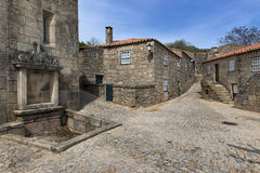 Old houses inside the wall of the castle of the historic village of Sortelha in Portugal. Concept for travel in Portugal stock photos