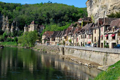 Old houses of La Roque Gageac. Tourism in La Roque Gageac in France Stock Photos