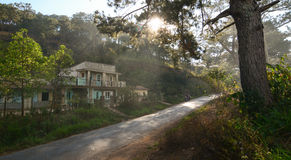 Old houses located on rural road in Dalat, Vietnam Stock Photo