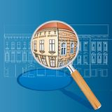 Old houses magnify. Vector blueprint with color magnify Royalty Free Stock Image