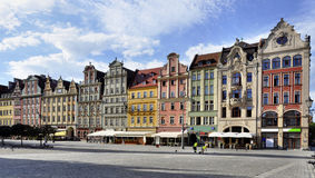 Old houses on Market Square in Wroclaw. Facades of old historic tenements on Rynek (Market Square) in Wroclaw (Breslau), Poland royalty free stock photography
