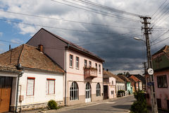 Old houses on medieval street in Ocna Sibiului Royalty Free Stock Images