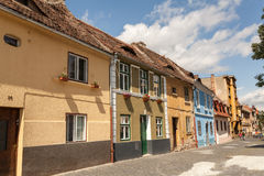 Old houses on medieval street in Sibiu Royalty Free Stock Photos