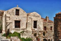 Old houses in Monemvasia castle in Peloponnese Greece stock image