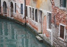 Old Houses near the navigable Canal in Venice. Italy Stock Photo