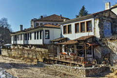 Old Houses near the river and main Street in Melnik town,  Bulgaria Royalty Free Stock Image