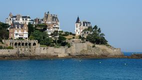 Old houses near the sea in Dinard. Brittany France Stock Photos