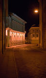 Old houses at the night. Old houses and narrow street at the night with lighting of lamp Royalty Free Stock Image