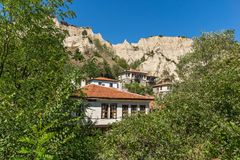 Old houses from the nineteenth century in town of Melnik, Bulgaria Royalty Free Stock Photography