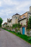 Old houses, Noyers-sur-Serein. Old houses, and towers of the old wall in the medieval village Noyers-sur-Serein, Burgundy, France Royalty Free Stock Image