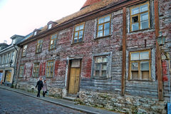 Old houses on the Old city streets. Tallinn. Estonia. Royalty Free Stock Images