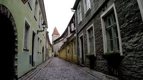 Old houses on the Old city streets. Tallinn. Estonia. Old houses on the Old city streets. Tallinn Estonia stock video footage