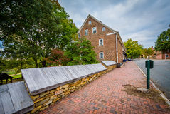 Old houses in the Old Salem Historic District, in downtown Winst Stock Image