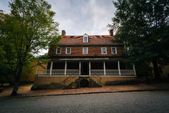 Old houses in the Old Salem Historic District, in downtown Winst Stock Photography