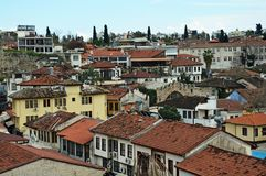 Old houses in the Old Town of Antalya. Old houses with red roofs in the Old Town of Antalya. Living area stock image