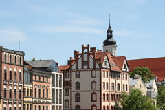 Old houses in opole city, poland. German influence in polish city opole architecture Stock Image
