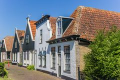 Old houses in Oudeschild on Texel island. The Netherlands stock images